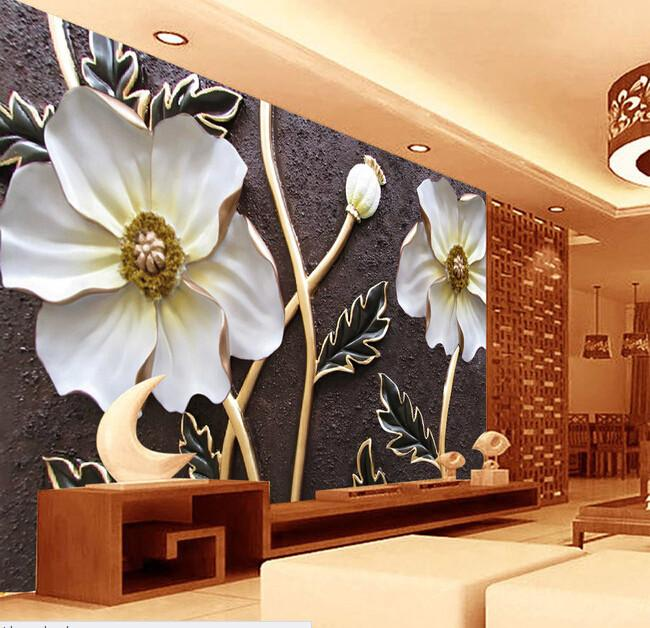 $42.21- Custom Wallpaper For Walls 3 DEmbossed Flower Murals For The Bedroom Living Room Tv Wall Waterproof Vinyl Papel De Parede