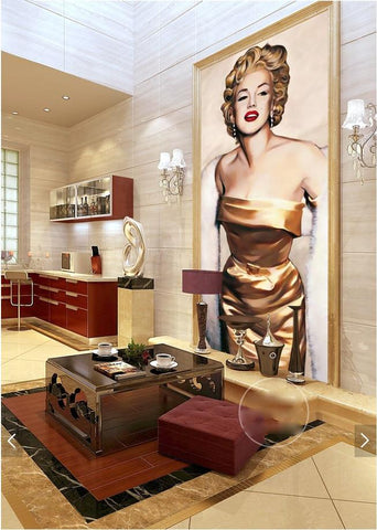 $30.37- 3D Room Wallpaper Custom Mural NonWoven Wall Sticker HandPainted Marilyn Monroe Porch Painting Photo Wallpaper For Walls 3D