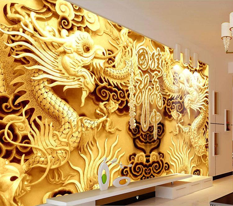 Buy 3D Golden Dragons Photo Wallpaper Woodcut Wall Mural Chinese ...