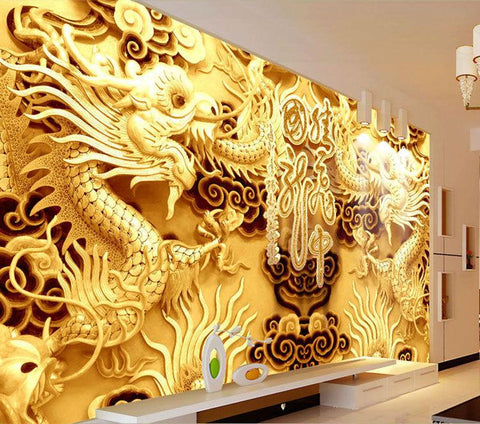 $43.70- 3D Golden Dragons Photo Wallpaper Woodcut Wall Mural Chinese Style Wallpaper Art Room Decor Sofa Background Wall Children Room