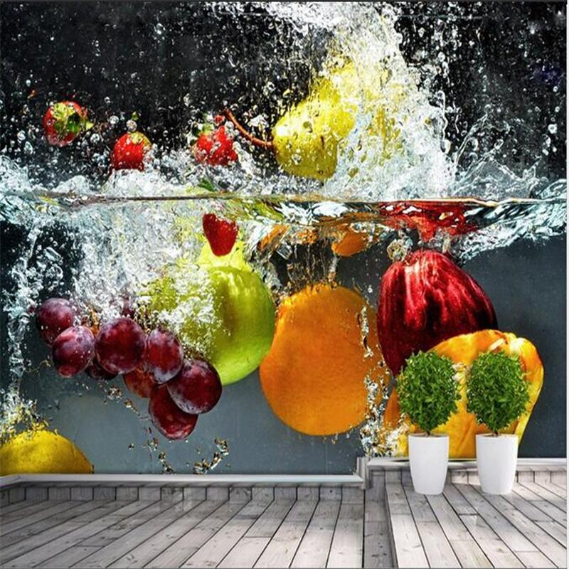 $20.23- Custom Silk Photo Wallpaper Hd Artistic Orange Flower Water Of The Fruit Living Room Backdrop 3D Large Wall Mural Wallpaper