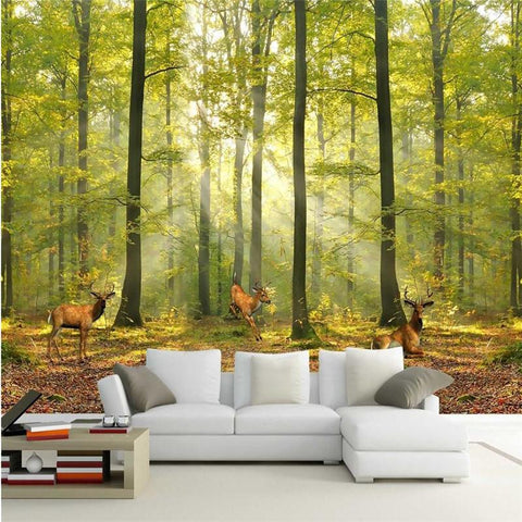 $21.71- Custom Photo Wall Paper Luxury Quality Hd Natural Morning Sunlight Woods Deer Run 3D Large Wallpaper Wall Mural