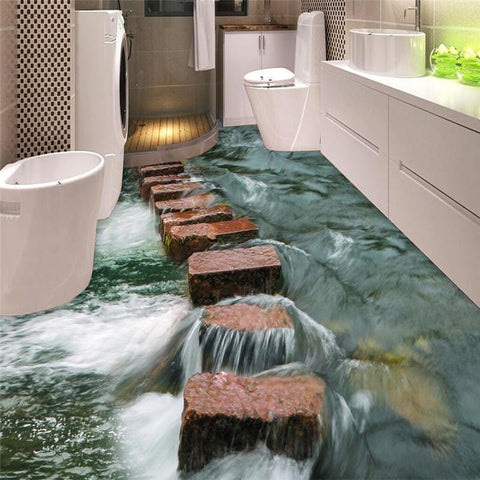 $32.13- Custom Photo Floor 3D Wallpaper Modern Art River Stones Bathroom Floor Mural3D Pvc Wallpaper SelfAdhesive Floor Wallpaper3D