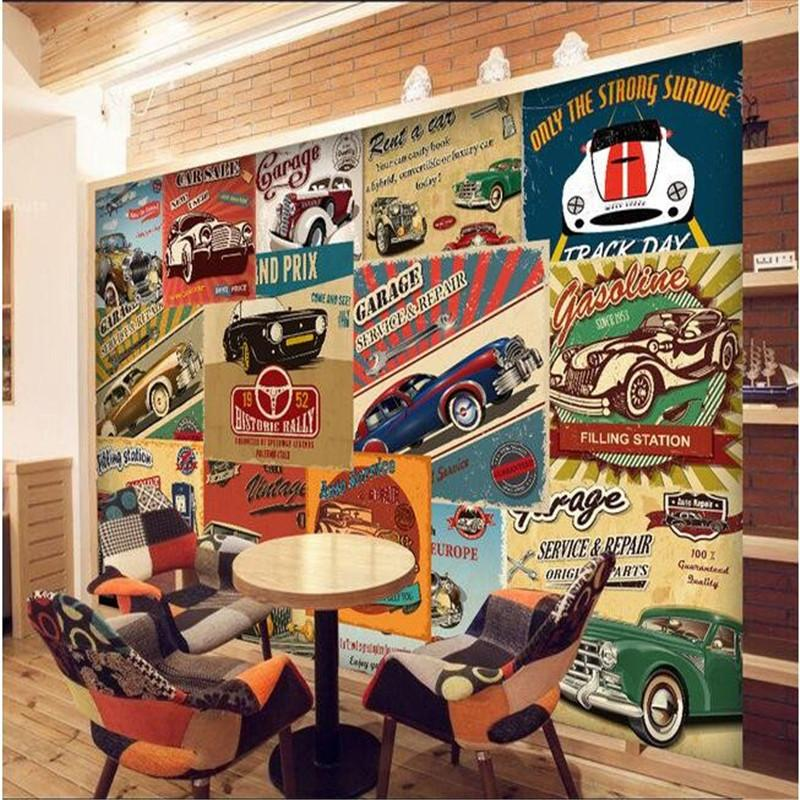 $27.54- Custom Mural Papel De Parede 3D Room Wallpaper3D Nostalgic Retro Car Tv Setting Wall Poster Photo Wallpaper For Walls 3 D