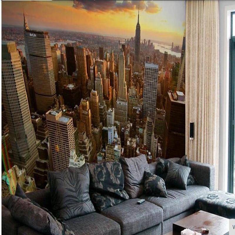 $27.70- Custom 3D Wallpaper Wall Bride Paes City Wall Landscape Background Sofa Fourth York Photo Wallpaper For Living Room