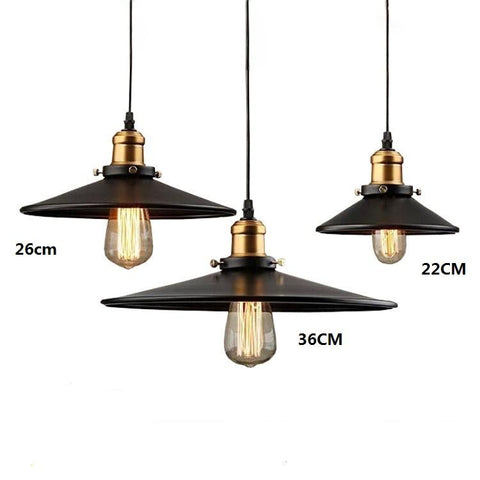 $27.00- Loft Rh Industrial Warehouse Pendant Lights American Country Lamps Vintage Lighting For Restaurant/Bedroom Home Decoration Black