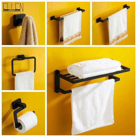 $27.70- Luxury Black Rubble Painting Brass Bath Accessories Set Towel Shelf Towel HolderRobe Hook Toilet Paper Holder
