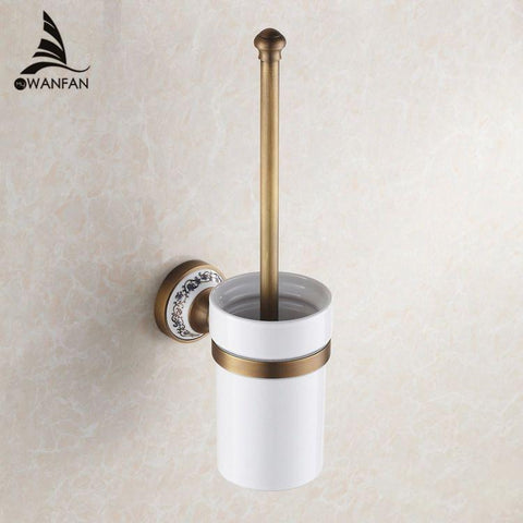 $68.04- High Quality Luxury Antique Bronze Finish Toilet Brush Holder W/ Ceramic Cup Household Products Bath Decoration Hj1809
