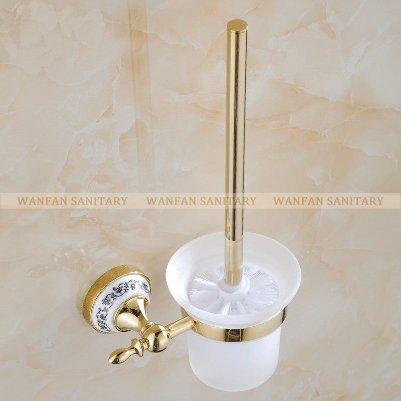 $56.16- Blue & White Porcelain Bathroom Accessories Brass Gold Toilet Brush HolderBathroom Products ConstructionSt6709