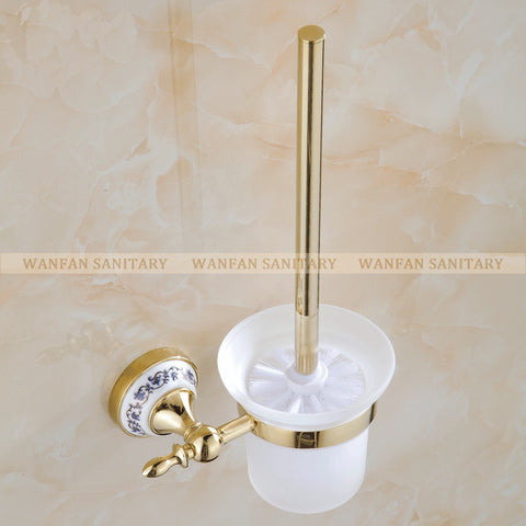 $52.92- Blue & White Porcelain Bathroom Accessories Brass Gold Toilet Brush HolderBathroom Products ConstructionSt6709