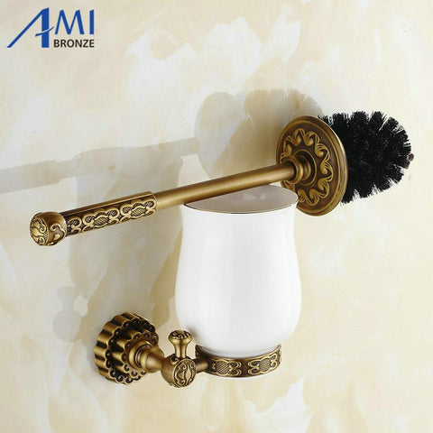 $81.65- Twin Flowers Series Carving Antique Brushed Brass Toilet Brush Holders Bathroom Accessories Cup Holder Toilet Vanity