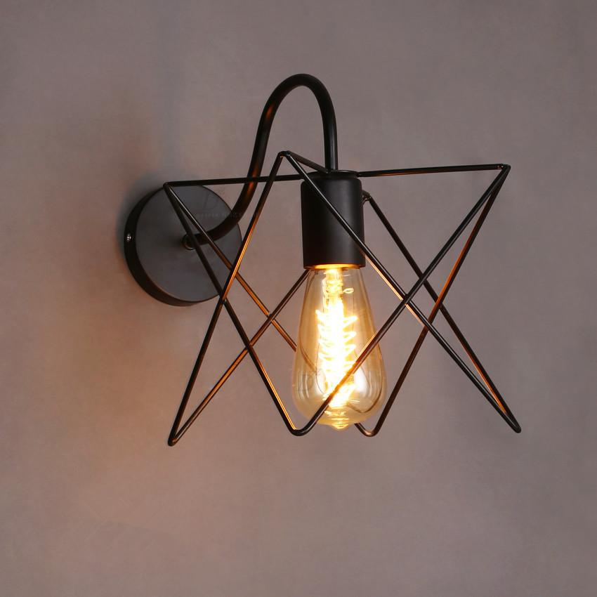 $55.28- Vintage Loft Iron Cage Wall Lamp Retro Hallway Stairs Line Wall Light Bathroom Wall Sconce Applique Murales Luminaire Arandela