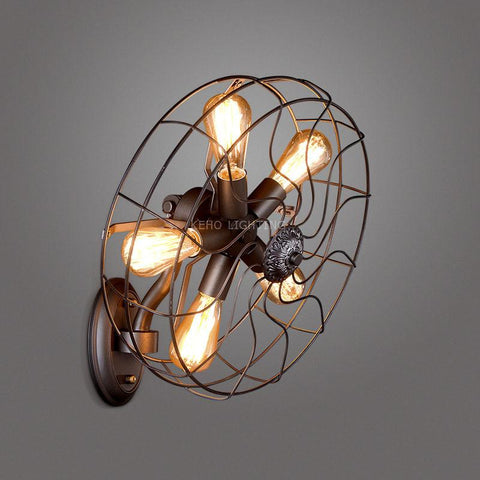 $198.15- Hot Retro Loft Style Vintage Industrial Fans Wall Lamp W/ 5 Head For E27 Edison Wall Sconce Selfdom Electric Fan