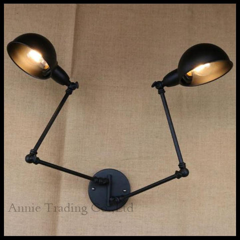 $110.50- Rotating Indoor Wall Lamp Office Swing Rock Wall Sconce 2 Head Lights Black Robot Arm Work Reading Study Painting Light