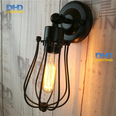$48.60- Adjustable Round Cage Iron Shade Edison Wall Lamp Industrial Small Iron Cage Sconce Bedroom Beside Lamp Fixture