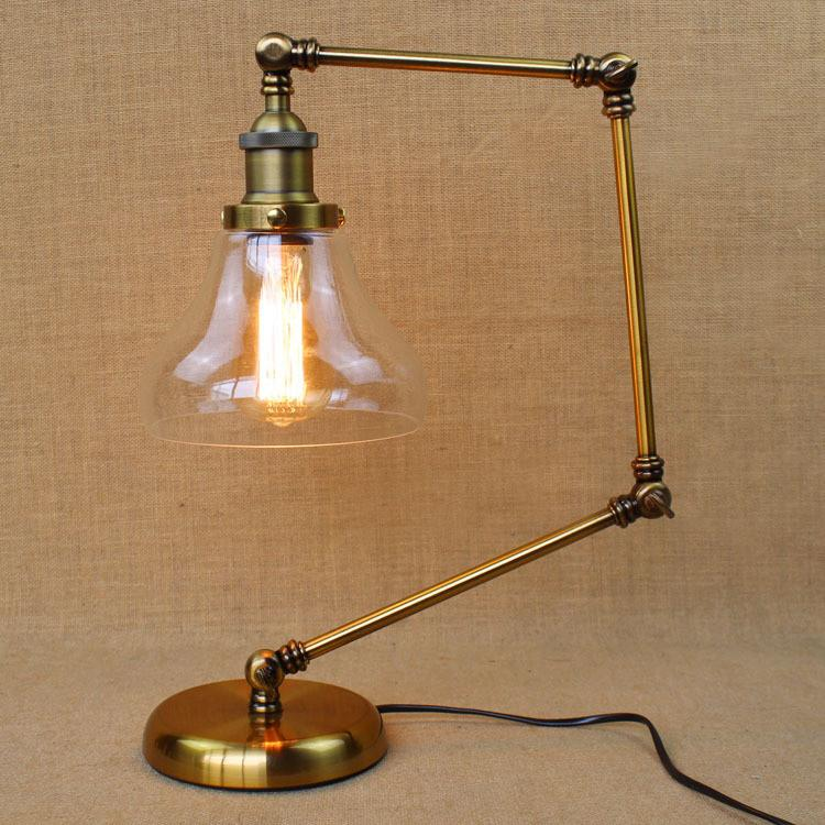 Retro Golden Coffee Shop Table Lamp Glass Shade Vintage Desk Lamp Dimmable  40W Edison Bulb Bedroom Bar Table Light Desk Light - Retro Golden Coffee Shop Table Lamp Glass Shade Vintage Desk Lamp