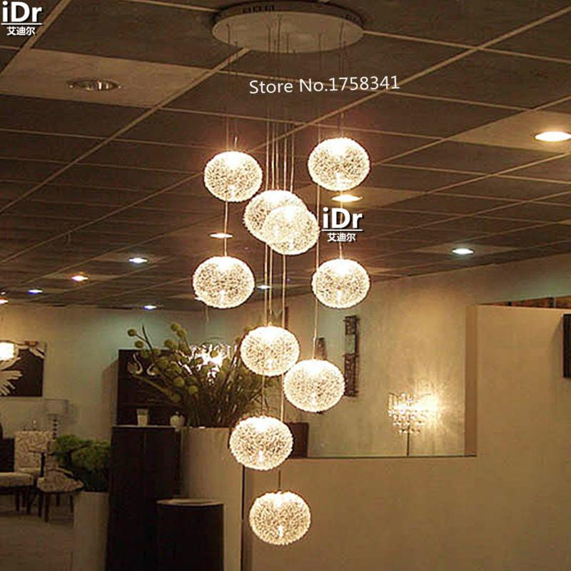 Large Long Stair E14 Round Ball Chandelier 10 Lights Lustres De – Ball Chandelier