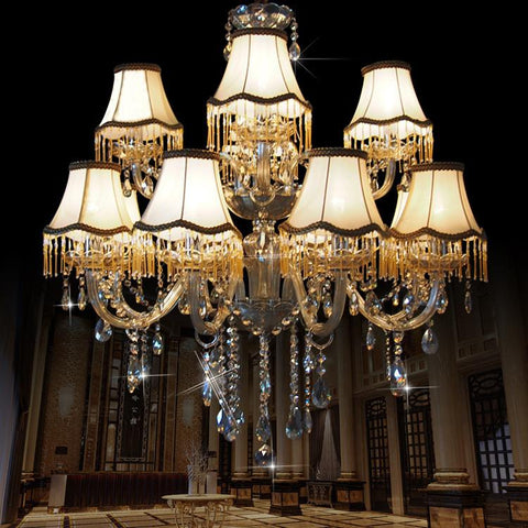 $607.20- Modern Chandelier Lustre Crystal Chandeliers 15 Arm Optional Lustres De Cristal Chandelier W/ Lampshade Large Chandelier
