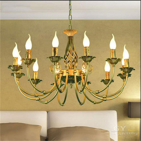 $354.75- Large 12Pcs E14 Candles Bronze Lustre Chandelier Leds Pendientes Lights Lumiere Fixtures Loft Lampadari Moderni Avize Lamp Decor