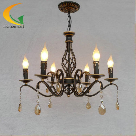 $253.13- Retro Chandelier Continental Iron Candle Chandeliers Bedroom Chandelier Led Restaurant Wrought Iron Chandelier Ceiling