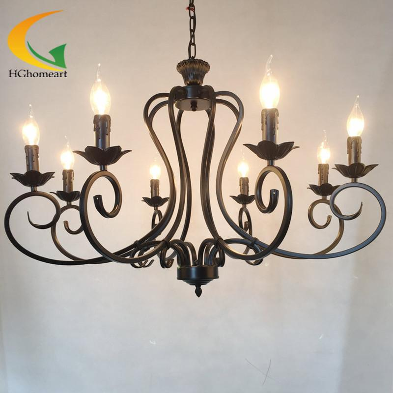$321.78- Continental Iron Candle Chandelier Living Room Lamp Bedroom Lamp Minimalist Restaurant Mediterranean Retro Chandelier