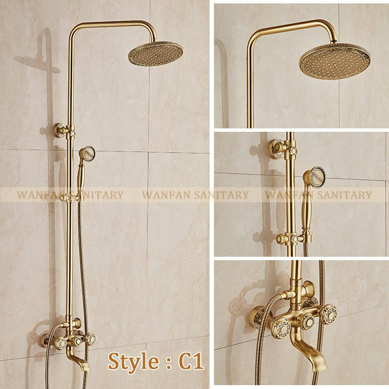 $453.71- Deluxe Carving Retro Style Solid Brass Bathroom Shower Set Faucet Wall Mounted Dual Handle Rainfall Shower Mixer Taps 10128