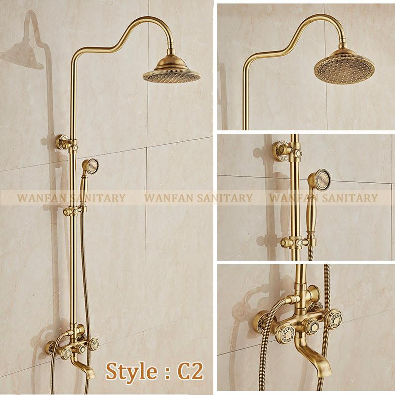 $458.22- Deluxe Carving Retro Style Solid Brass Bathroom Shower Set Faucet Wall Mounted Dual Handle Rainfall Shower Mixer Taps 10128