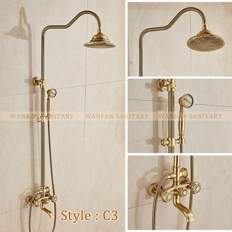$462.73- Deluxe Carving Retro Style Solid Brass Bathroom Shower Set Faucet Wall Mounted Dual Handle Rainfall Shower Mixer Taps 10128