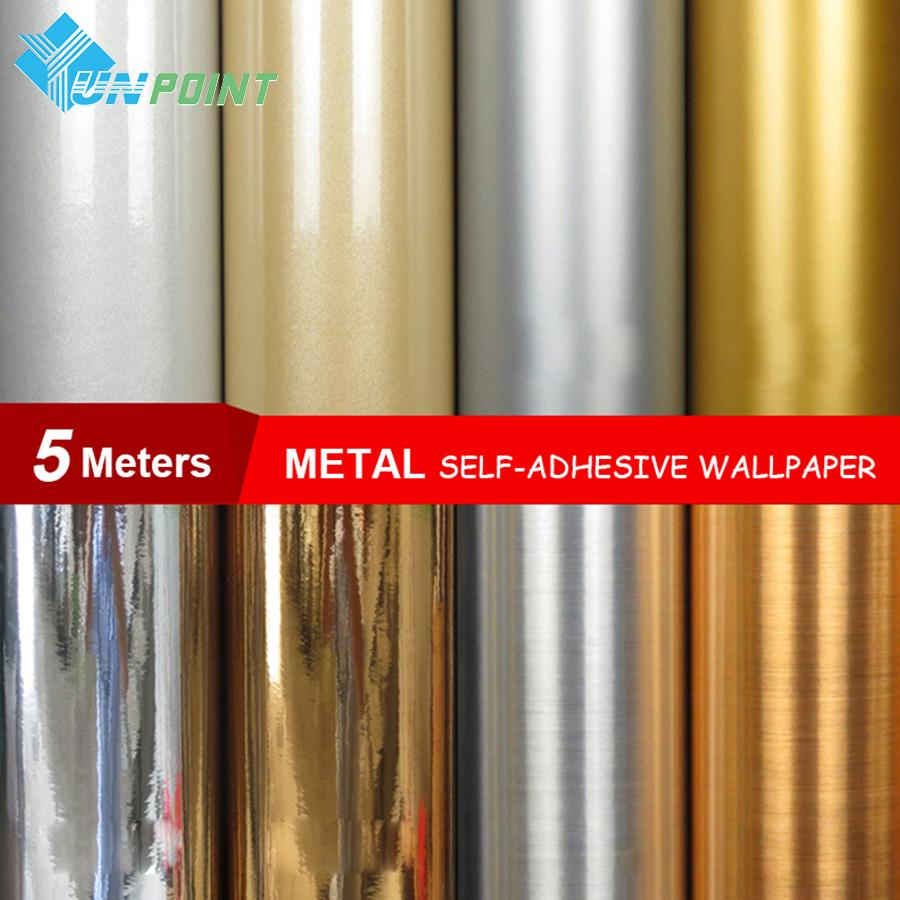 0.6*5Meters/Roll Waterproof Glitter Fabric Stickers Mirror Metal Wallpaper Silver Gold Paper Self Adhesive Film Home Decoration