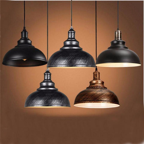 $35.21- Vintage Edison Light Cover Lampshade E27 Industrial Retro Lamp Base Loft Iron Pendant Lights Holder Lighting Fixture