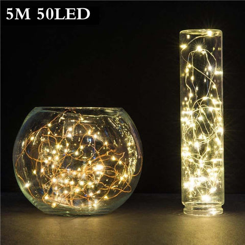 $4.75- 5M 50 Led 3Xaa Battery Operated Led String Lights For Xmas Garland Party Wedding Decoration Christmas Flasher Fairy Lights