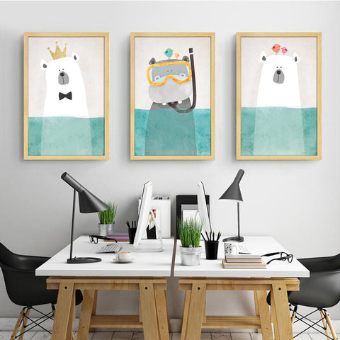 Modern Canvas Painting Art Nordic Kawaii Animals Bear Hippo Poster Print Nursery Wall Art Picture No Frame Kids Room Decor