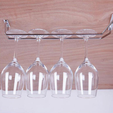 $12.31- Champagne Stemware Holder Chrome Plated Wine Rack Glass Cup Kitchen Wall Bar Hanger Size 27/35/55Cm