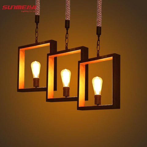 $113.42- Newest Art Deco Vintage E27 Pendant Light Led Lamp Metal Cube Cage Lampshade Light Hanging Light Fixture For Ktv/Bart Art Lights