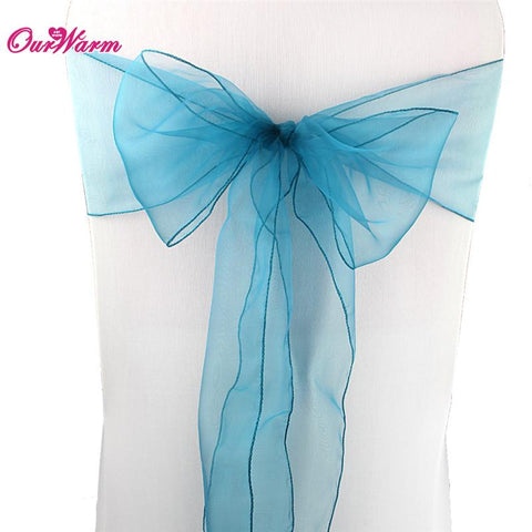 $1.01- Organza Chair Sashes Bow Cover Wedding Chair Sashes New Year Christmas Party Banquet Chairs Decorations Home Textiles