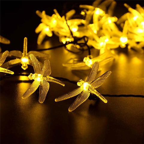 $18.58- Solar Sun Christmas Lights 19.7Ft 30 Led 8 Modes Solar Sun Dragonfly Fairy String Lights For Xmas Party Decorations Outdoor Solar Sun Lamp