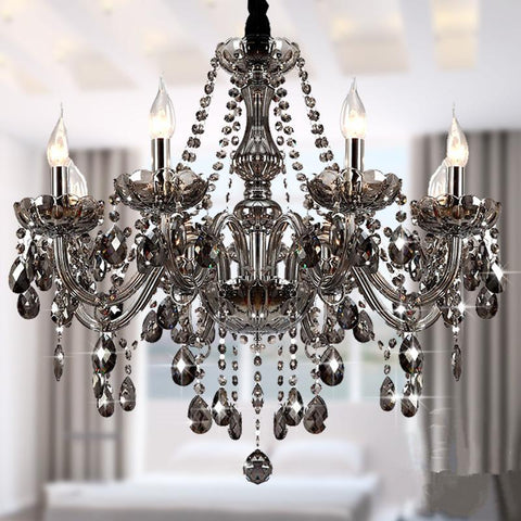 $367.79- Modern Luxury K9 Led Crystal Chandeliers Lustre De K9 Crystal Smokey Grey Ceiling Chandeliers Light Fixtures 6 Arms Luminaire