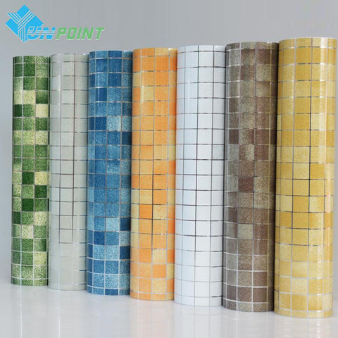 $19.16- Bathroom Wall Stickers Pvc Mosaic Wallpaper Kitchen Waterproof Tile Stickers Plastic Vinyl Self Adhesive Wall Papers Home Decor