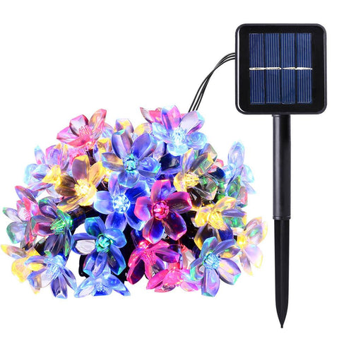 $26.22- New 50 Leds 7M Peach Ledertek Flower Solar Sun Lamp Power Led String Fairy Lights Solar Sun Garlands Garden Christmas Decor For Outdoor