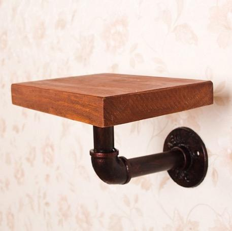 1Pcs American Style Retro Old Iron Industrial Pipe Shelf Wall Rack Bookshelf Included Wood