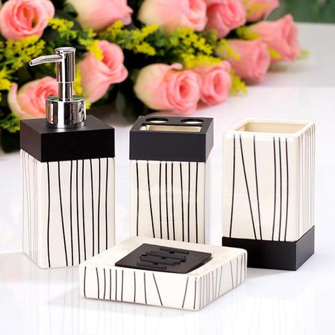 $72.07- 4 Pcs Ocean Style Washing Room Sets Ceramic Bathroom Accessories Sets Toothpaste Toothbrush Holder Soap Emulsion Bottle
