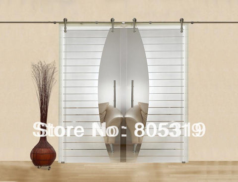 $677.32- Modern Interior Glass Sliding Barn Door Hardware Double Sliding Glass Barn Door Hardware