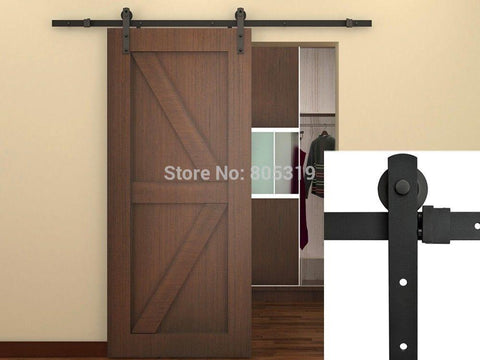 $203.83- 7.5Ft Black Steel Rustic American Style Sliding Barn Door Hardware16 Apart Holes Drilled On Track