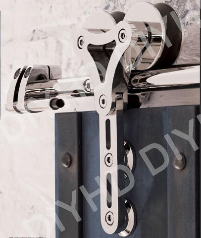 $354.75- Stainless Steel Sliding Barn Wood Door Interior Glass Door Double Head HollowOut Hanger Wheel Barn Track Sliding Kit