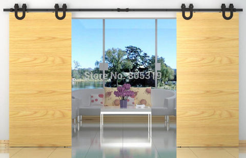10/12/13Ft Double Sliding Barn Door Heavy Duty Modern Horseshoe Design Wooden Sliding Barn Door Hardware