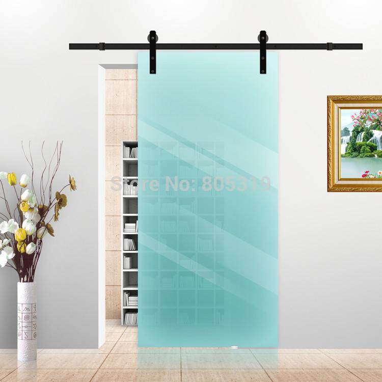 $204.00- 5Ft/6Ft/6.6Ft Black Rustic Sliding Barn Glass Door Sliding Track Hardware Interior Glass Sliding Door Hardware