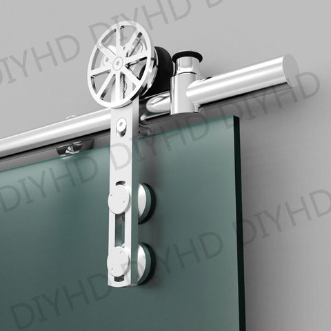 $387.75- European Style Stainless Steel Sliding Barn Glass Door Hardware Sliding Barn Track Hardware W/ Movable Decoration Ring