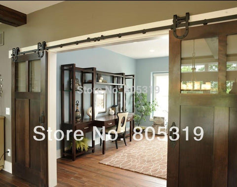 $412.50- Industrial Horseshoe Barn Door Hardware Steel Wood Sliding Barn Door Hardware Set Double Sliding Barn Door Kit