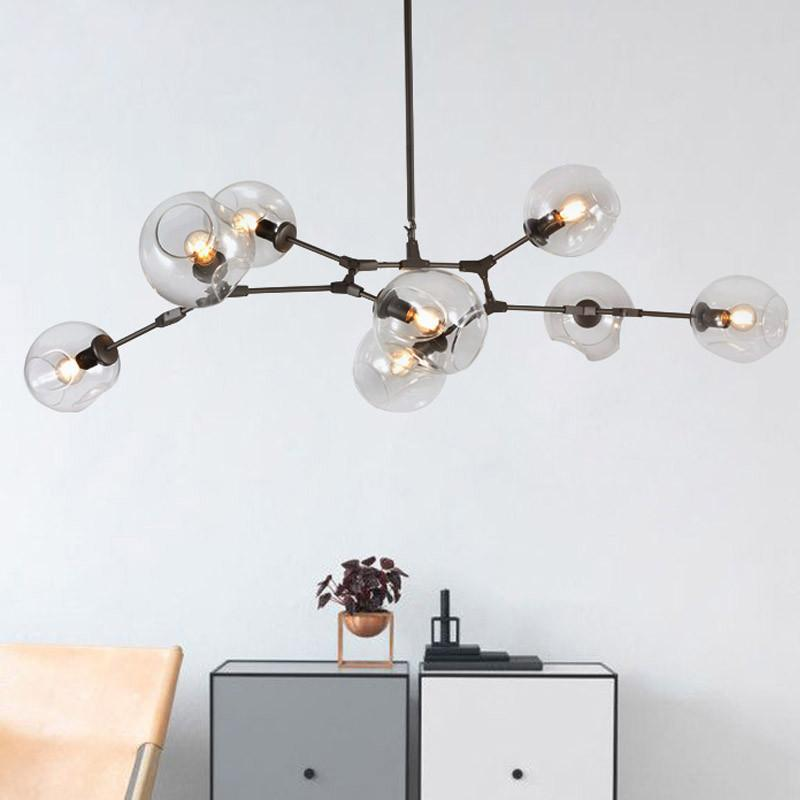 $175.88- Loft Industrial Chandeliers Globe Glass Lights Modern Minimalist Design Chandelier Hanging In Living Room/Restaurant E27 Lamps