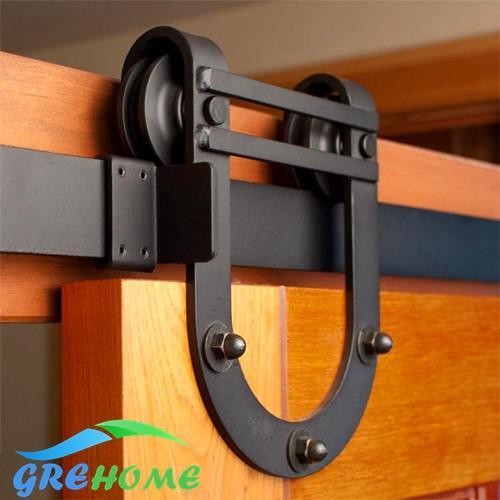 $136.00- 4.9Ft/6Ft/6.6Ft Carbon Steel Wall Mount Steel Black Rustic Sliding Barn Door Hardware